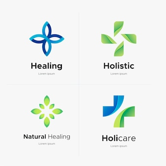 Pacote de logotipo gradiente holístico