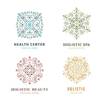 Pacote de logotipo holístico desenhado à mão plana
