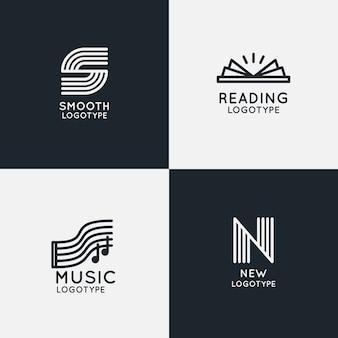 Pacote de logotipo linear abstrato