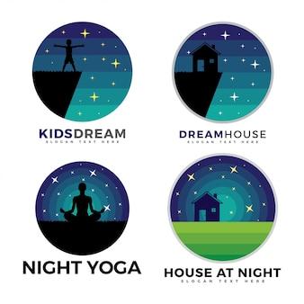 Pacote de logotipo, logotipo de crianças, logotipo da casa e logotipo de ioga