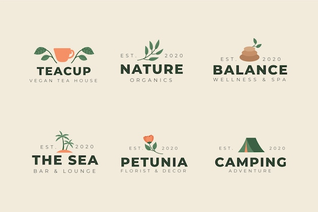Pacote de logotipo mínimo colorido em estilo vintage