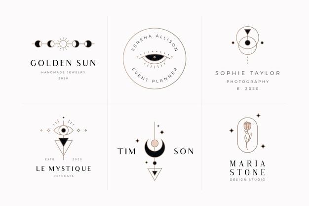 Pacote de logotipo místico e esotérico