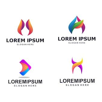 Pacote de logotipo moderno colorido abstrato letra