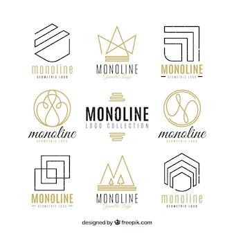 Pacote de logotipo monoline dourado