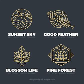 Pacote de logotipo monoline nature