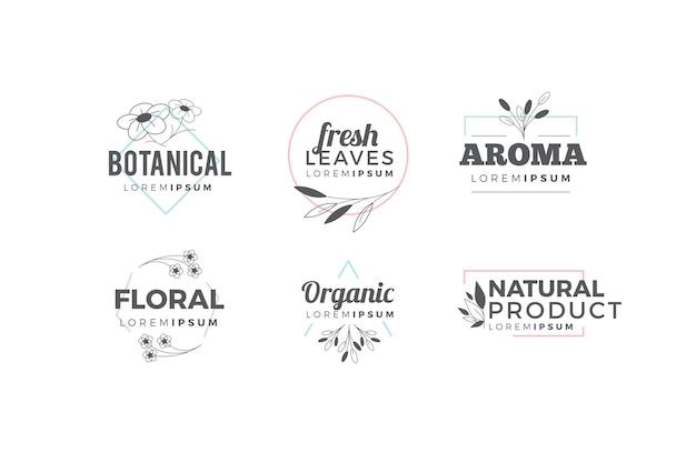 Pacote de logotipo natural em estilo minimalista