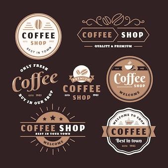 Pacote de logotipo retrô de cafeteria