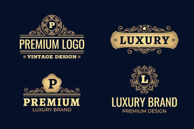 Pacote de logotipo retrô de luxo