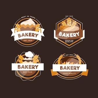 Pacote de logotipo retrô de padaria