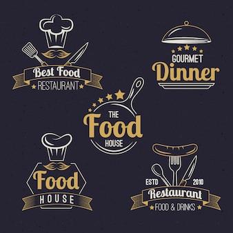 Pacote de logotipo retrô de restaurante
