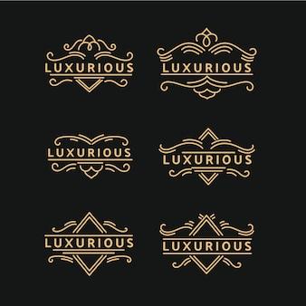 Pacote de logotipo retrô luxuoso