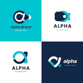 Pacote de logotipos alfa de design plano