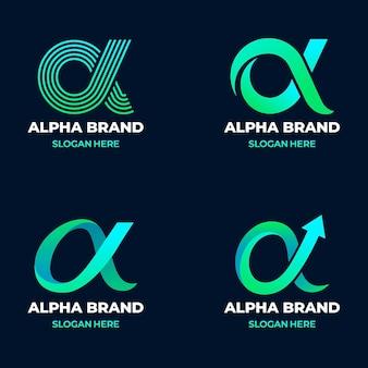Pacote de logotipos alfa gradiente