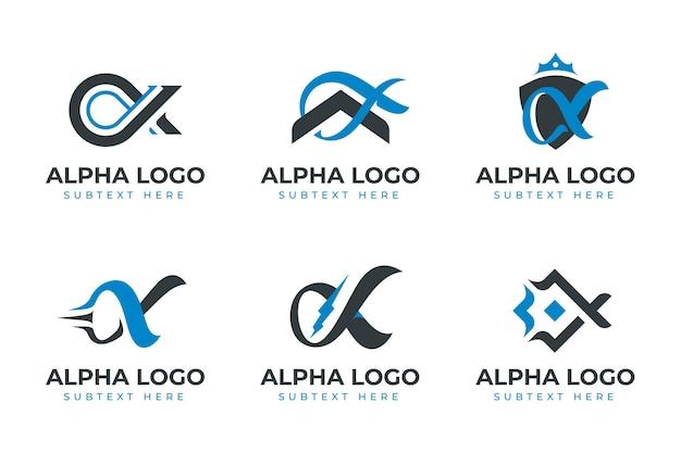 Pacote de logotipos alfa planos