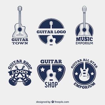 Pacote de logotipos azul escuro com guitarras