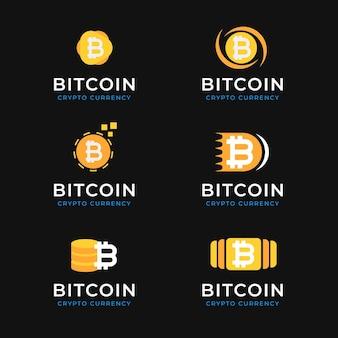 Pacote de logotipos bitcoin de design plano