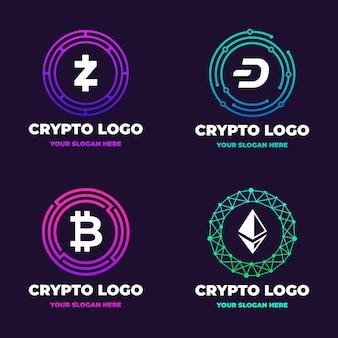 Pacote de logotipos bitcoin gradiente