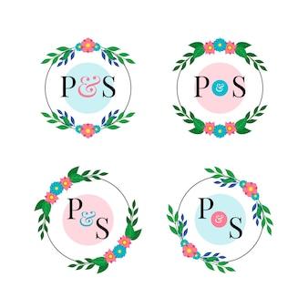Pacote de logotipos de casamento floral