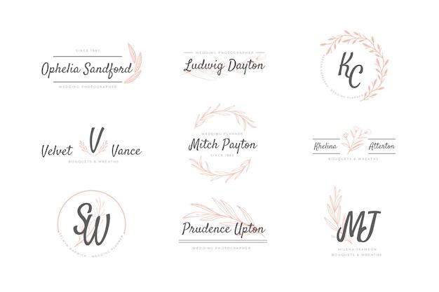 Pacote de logotipos de casamento