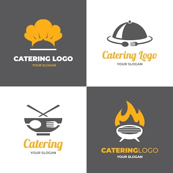 Pacote de logotipos de catering de design plano