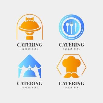 Pacote de logotipos de catering gradiente