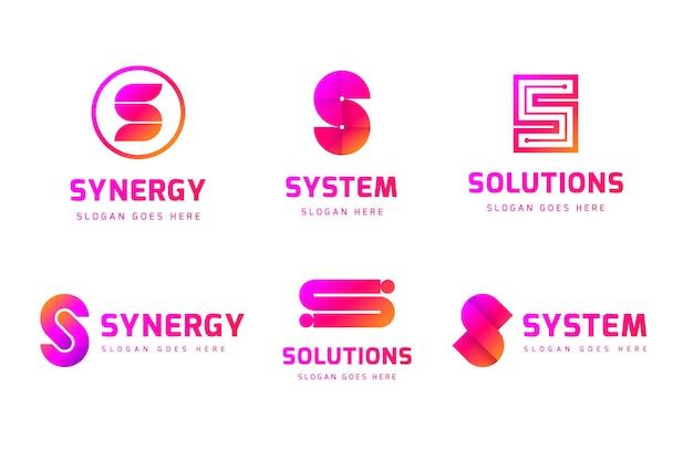 Pacote de logotipos de design colorido gradiente