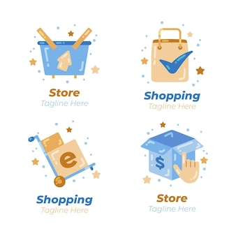 Pacote de logotipos de e-commerce de design plano