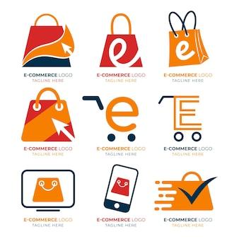 Pacote de logotipos de e-commerce de design plano