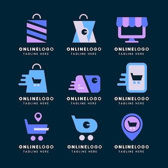 Pacote de logotipos de e-commerce de design plano Vetor grátis