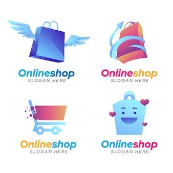 Pacote de logotipos de e-commerce gradiente