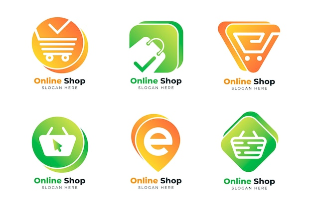 Pacote de logotipos de e-commerce gradiente