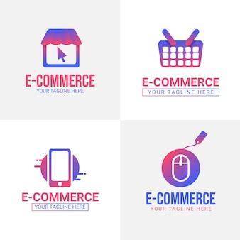 Pacote de logotipos de e-commerce gradiente Vetor grátis