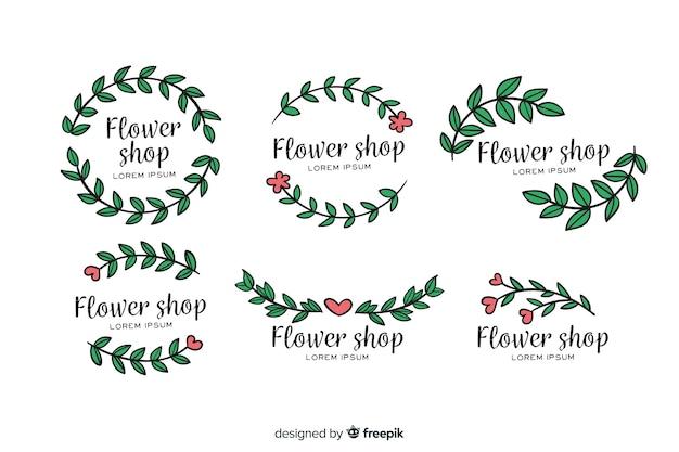 Pacote de logotipos de florista de casamento