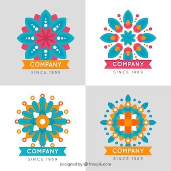 Pacote de logotipos de mandala em design plano