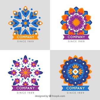Pacote de logotipos de mandalas em design plano