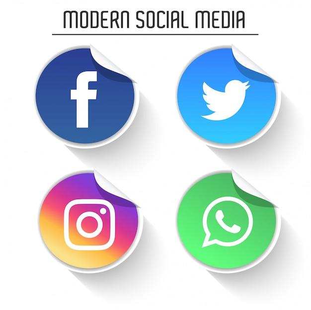 Pacote de logotipos de mídia social moderna