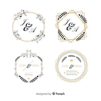 Pacote de logotipos de monograma de casamento