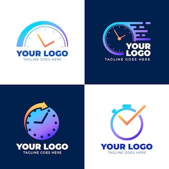 Pacote de logotipos de relógio gradiente