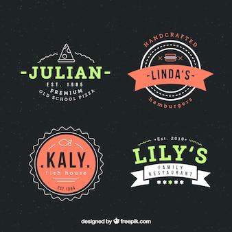 Pacote de logotipos de restaurantes com design de crachá