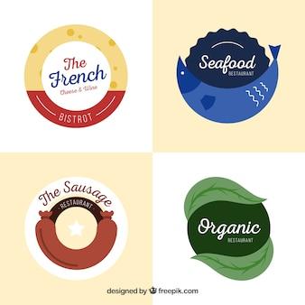 Pacote de logotipos de restaurantes com design plano