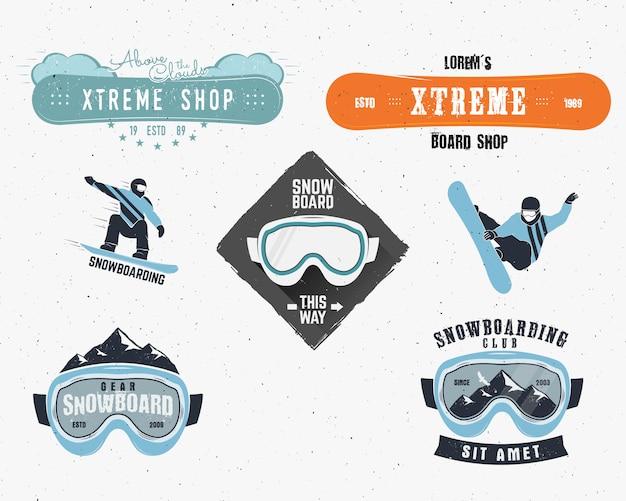 Pacote de logotipos de snowboard no inverno