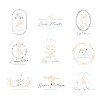 Pacote de logotipos elegantes florais