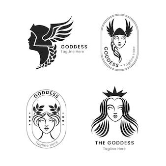Pacote de logotipos lineares de deusa