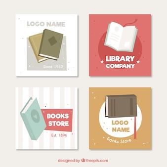 Pacote de logotipos livro no design plano