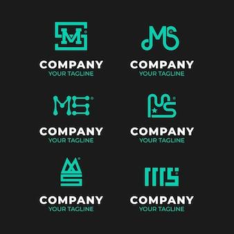Pacote de logotipos ms de design plano