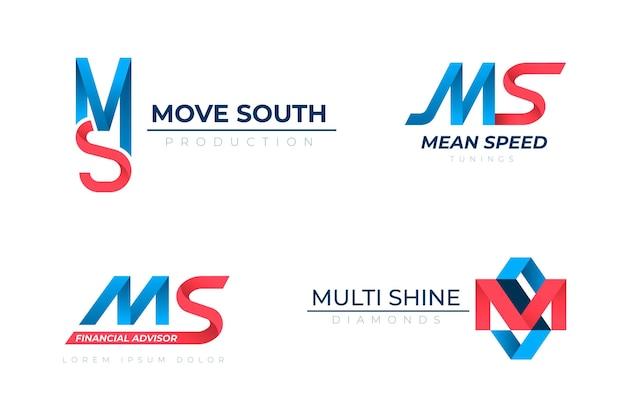 Pacote de logotipos ms em gradiente