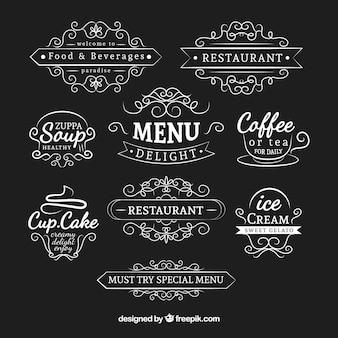 Pacote de logotipos ornamental desenhados a mão em estilo vintage