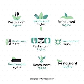 Pacote de logotipos para restaurantes com comida orgânica