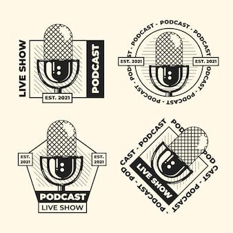 Pacote de logotipos vintage de podcast