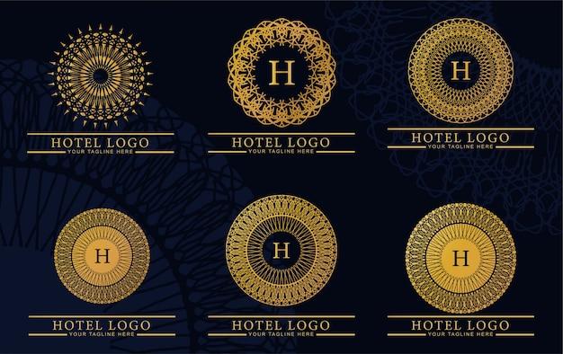 Pacote de luxo e elegante monograma de logotipo